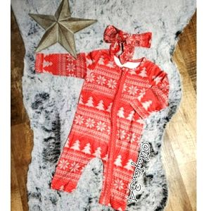Other - New 9-12M baby girl Christmas coveralls w/ hairbow